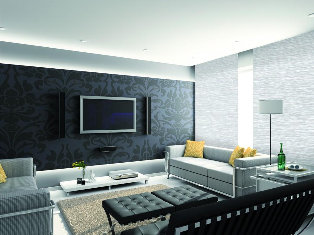 Modern interior. 3D render. Living-room. Exclusive design.